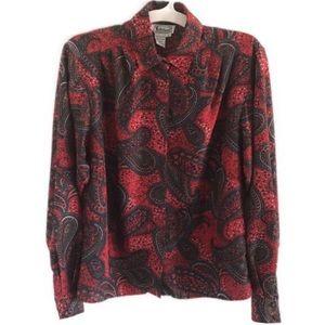 VINTAGE paisley button down blouse 8